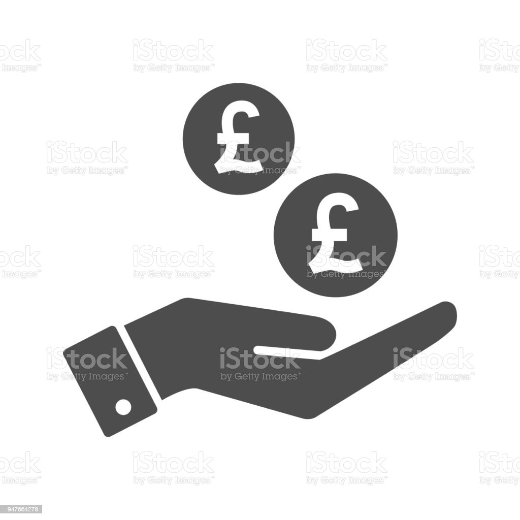 Hand And British Pound Coins Dropping Flat Icon Pounds Coin And Palm
