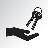 Hand and bunch of keys. Black silhouette. Vector illustration