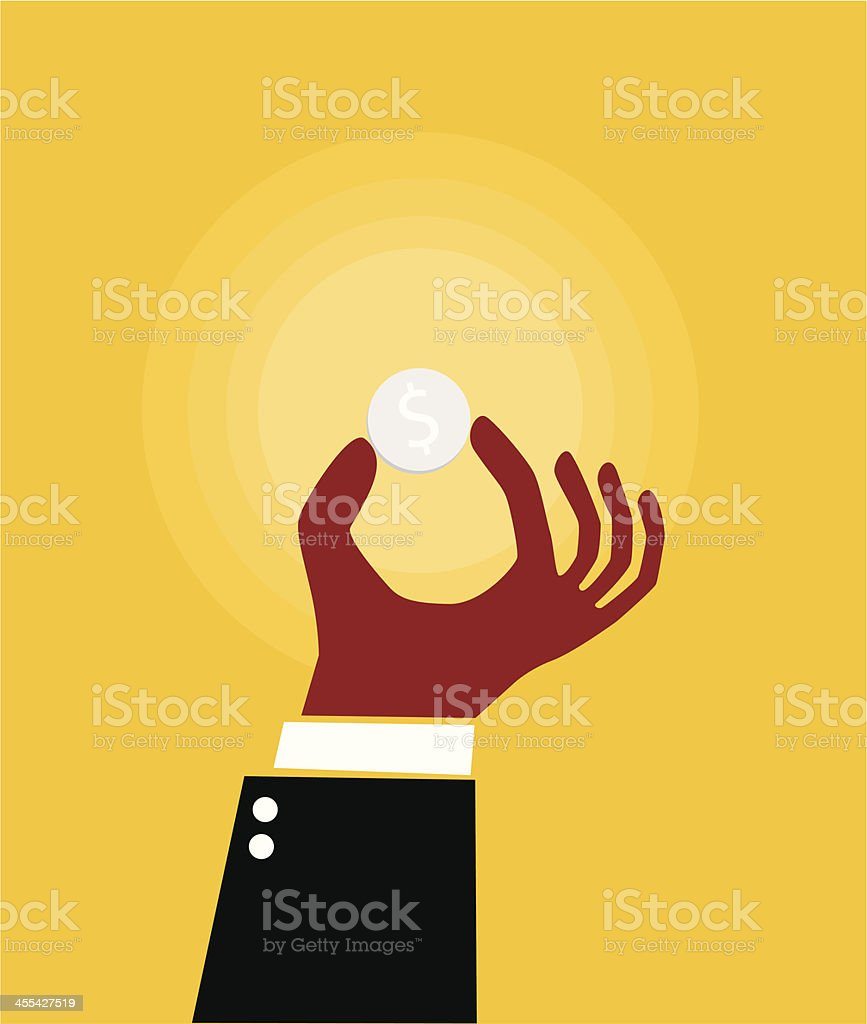 Hand and coin vector art illustration
