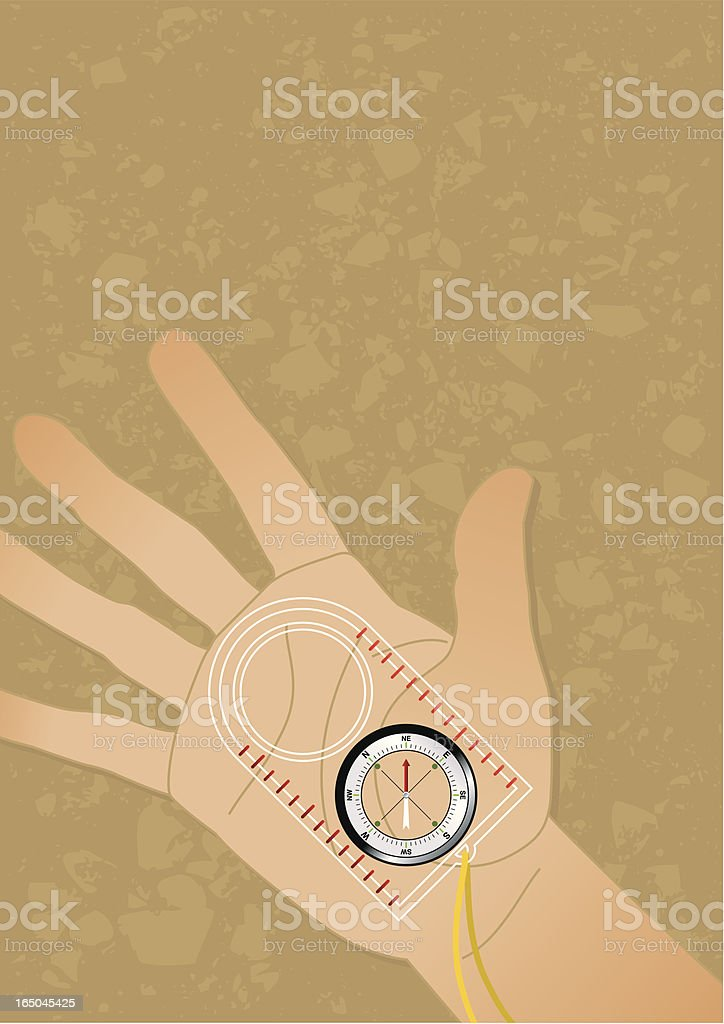 Hand and compass for direction royalty-free stock vector art