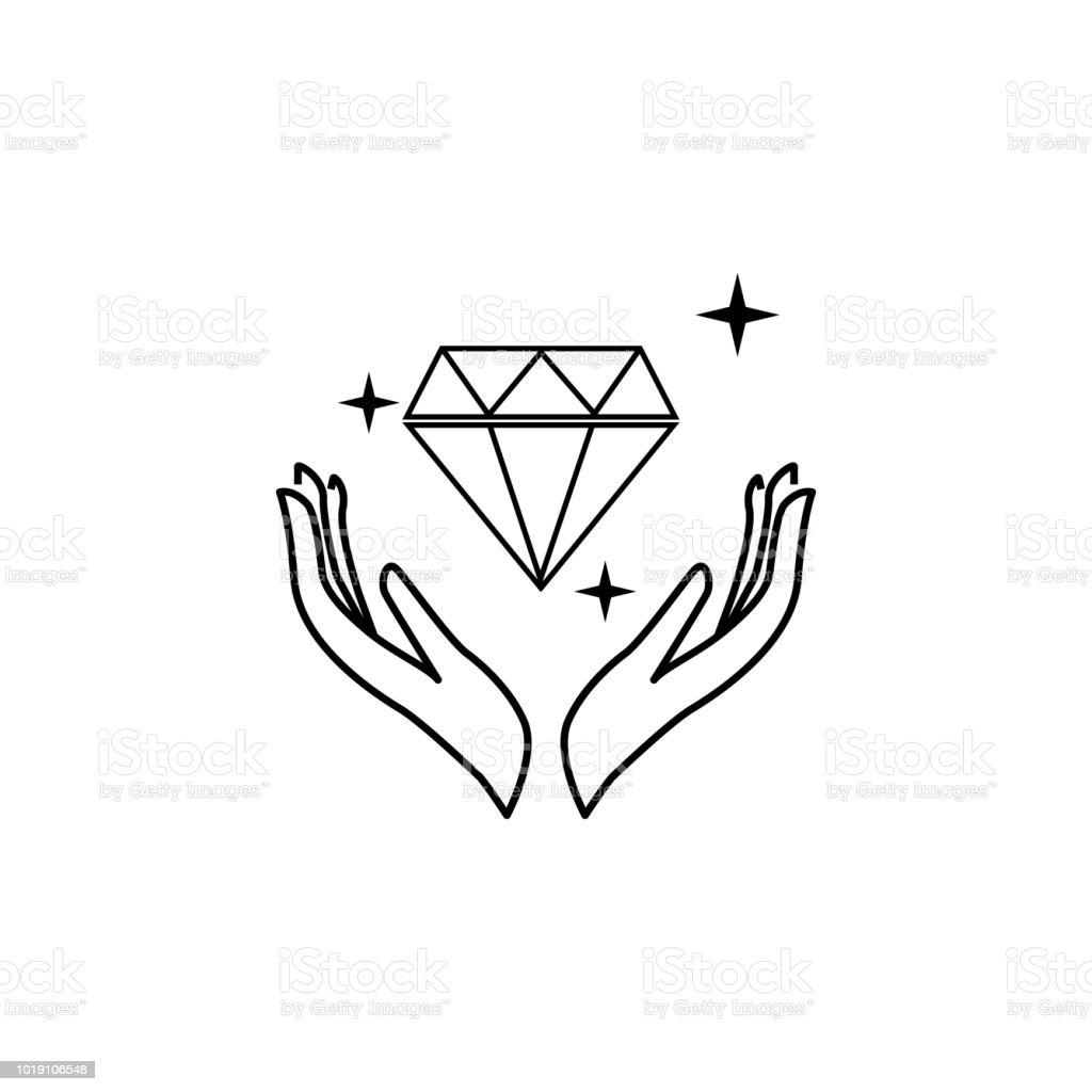 Hand Und Diamantsymbol Liebhabersymbol Hochzeit Elementsymbol
