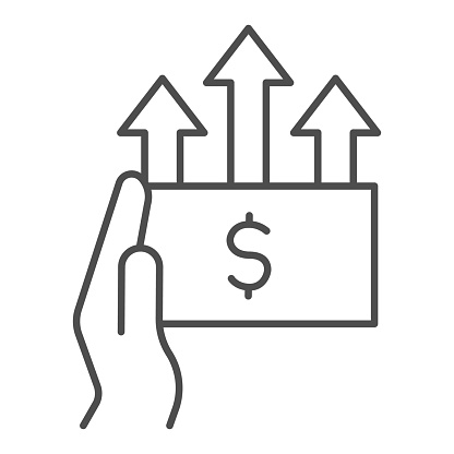 Hand and dollar with upward arrows thin line icon, Black Friday concept, rising dollar in palm sign on white background, Money Growth icon in outline style for mobile and web. Vector graphics.