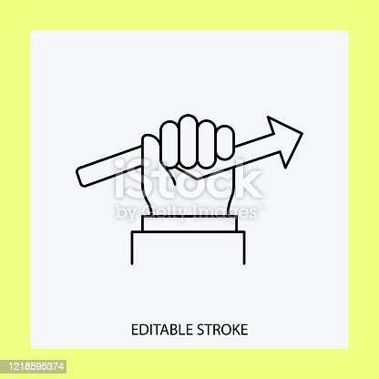 Hand and downward arrow icon.Editable Stroke