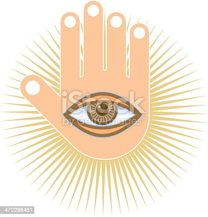 Hand And Eye Symbol Stock Vector Art More Images Of Concepts