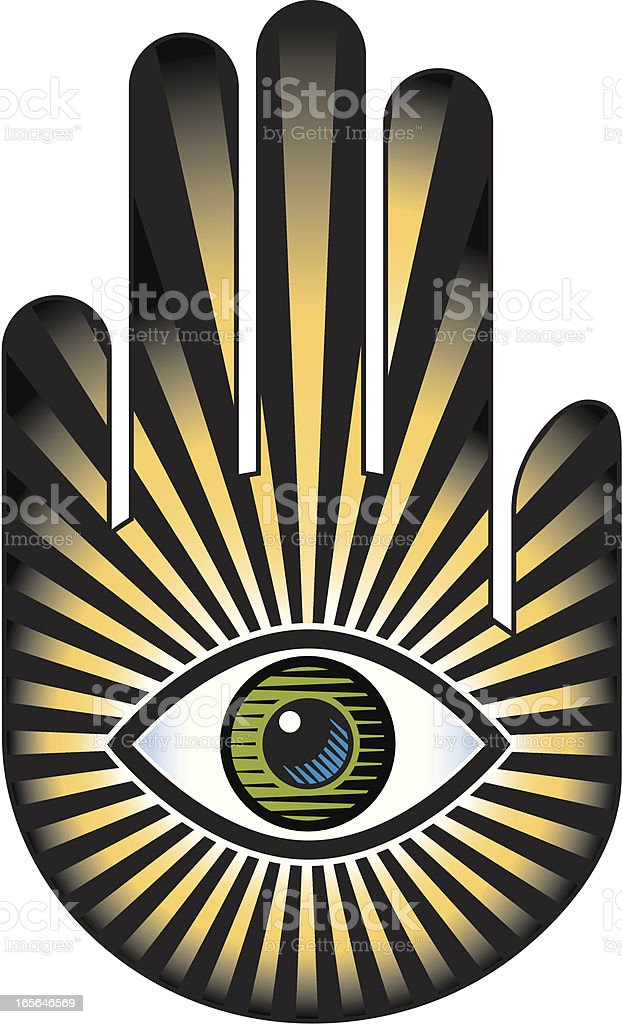 Hand And Eye With Sunburst Stock Vector Art More Images Of