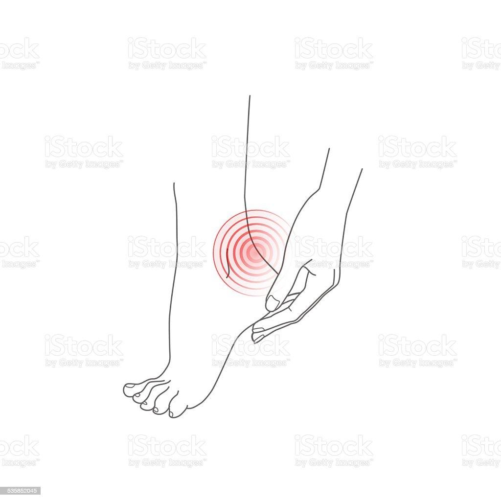 Hand and foot, pain feet, vector illustration vector art illustration