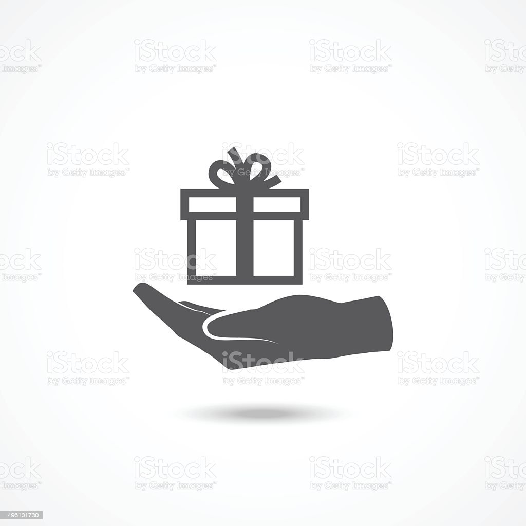 Hand and gift icon vector art illustration