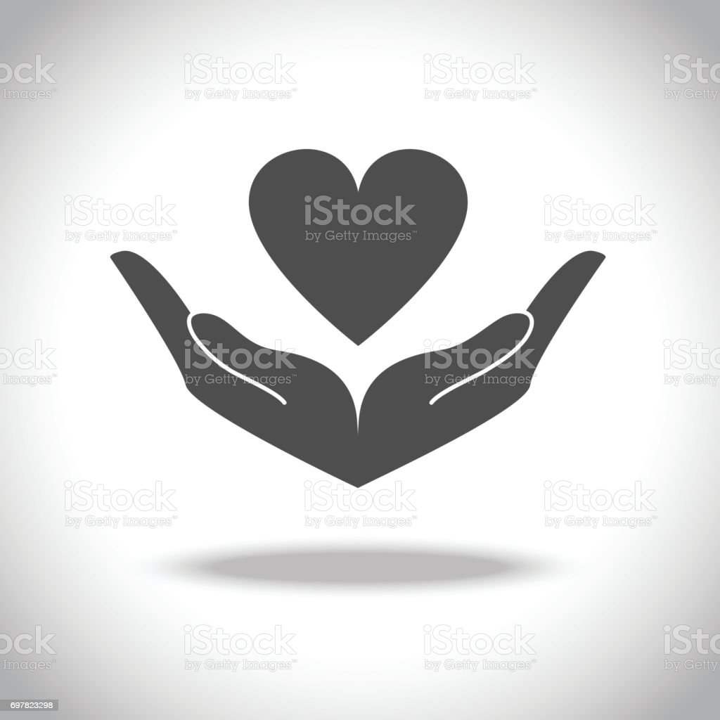 Hand and Heart Icon vector art illustration
