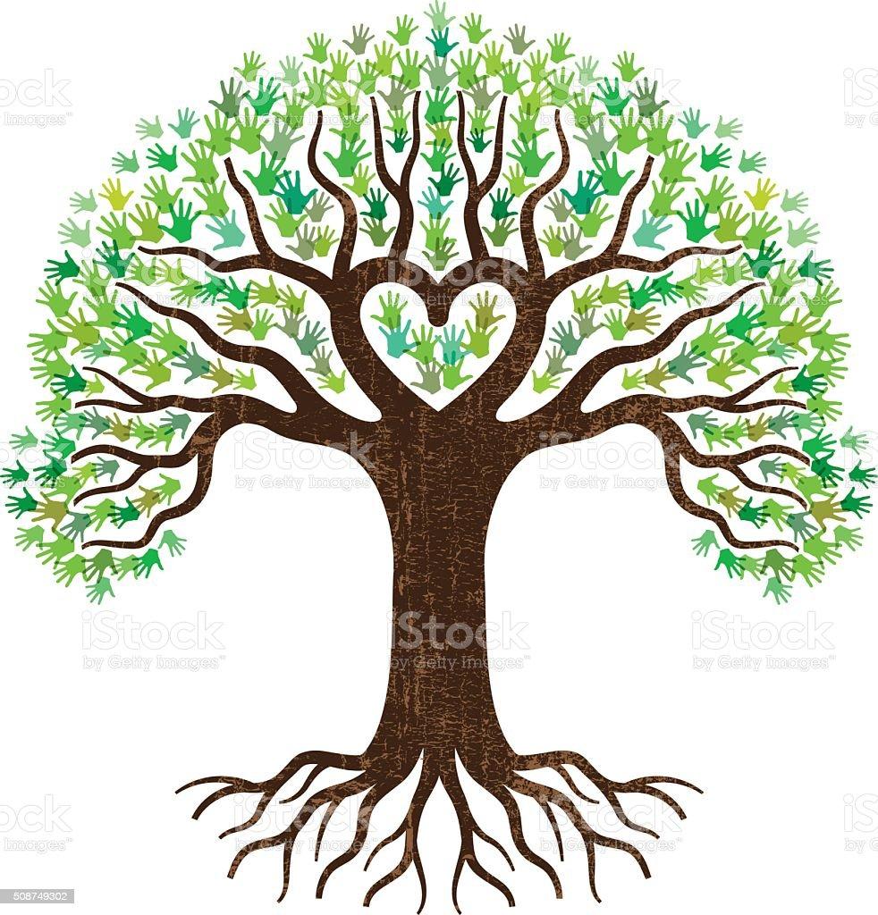Vector Illustration Tree: Hand And Heart Tree Illustration Stock Vector Art & More