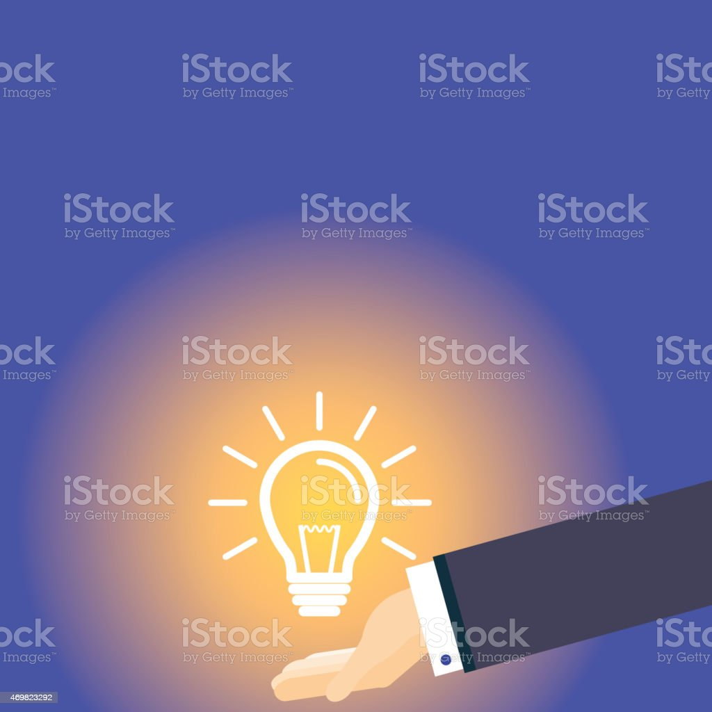 Hand and lightbulb vector art illustration