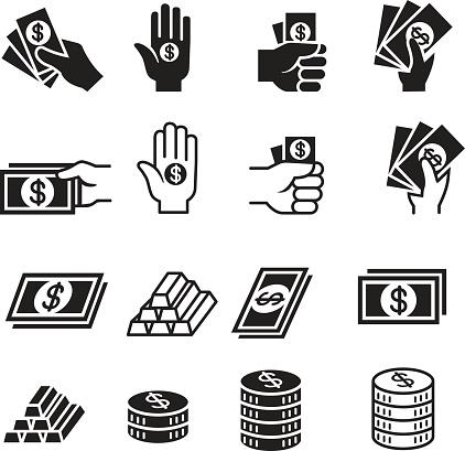 Hand and money icon set