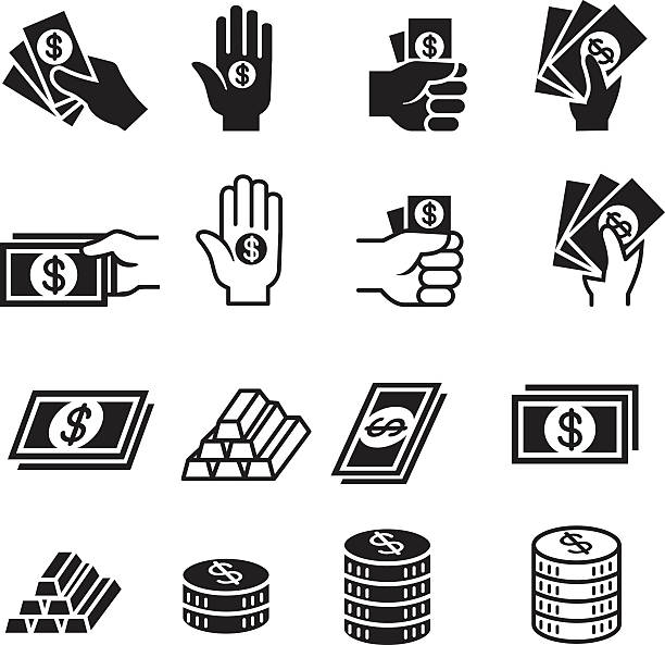 stockillustraties, clipart, cartoons en iconen met hand and money icon set - orthografisch symbool