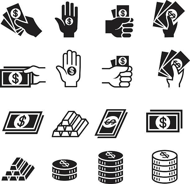 руки и деньги набок икон - dollar bill stock illustrations
