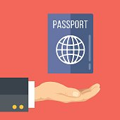 Hand and passport. Getting or renewing passport. Flat vector illustration