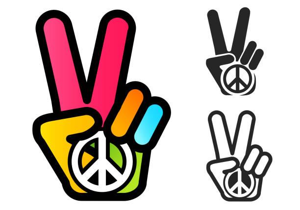 stockillustraties, clipart, cartoons en iconen met hand en vrede symbool - hippie