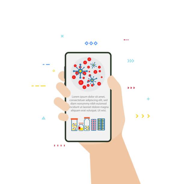 hand und telefon mit medizinischen informationen - smartphone mit corona app stock-grafiken, -clipart, -cartoons und -symbole