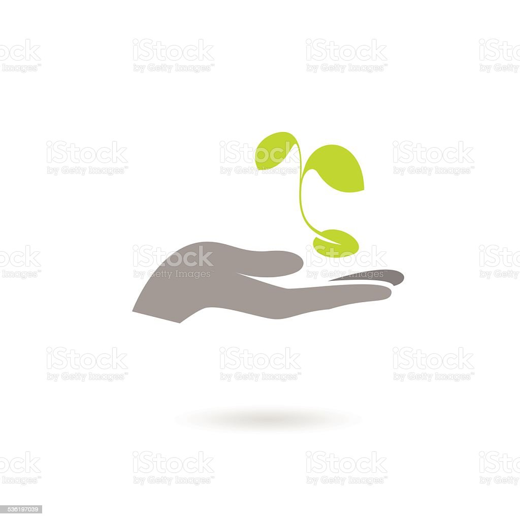Hand and plant isolated on white background vector art illustration