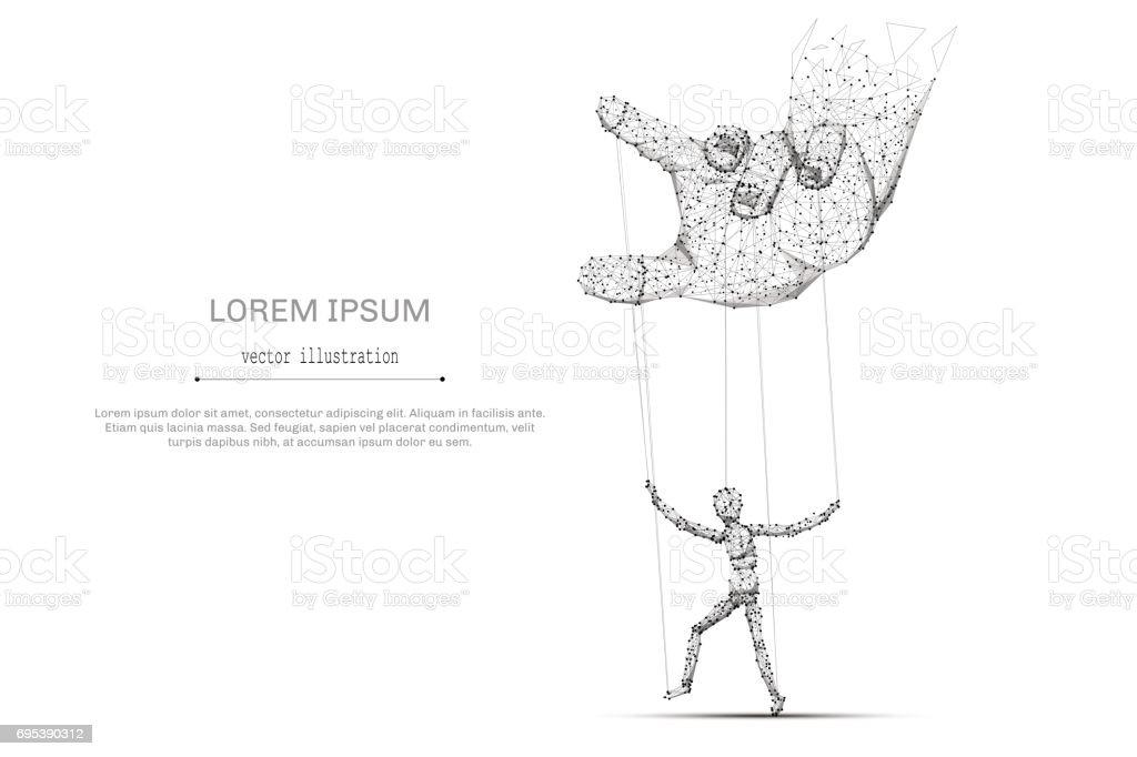 mão e fantoche baixo poli cinza - ilustração de arte em vetor