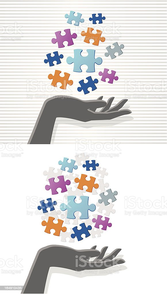 Hand and puzzle royalty-free stock vector art