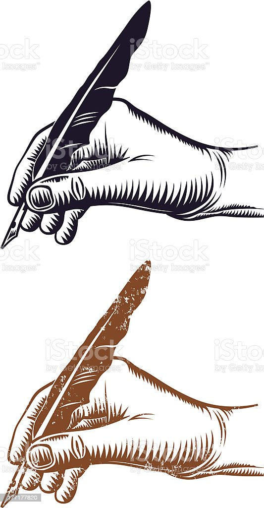 Hand and quill pen royalty-free stock vector art