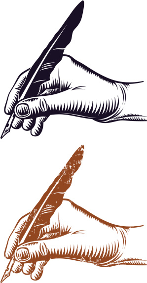 Hand and quill pen
