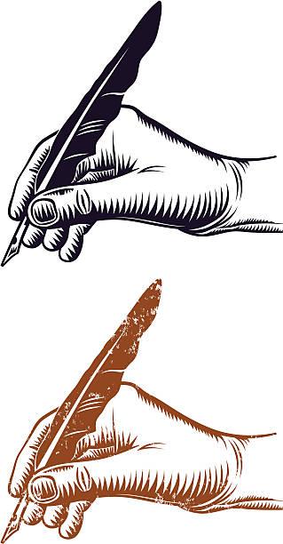 Main et Stylo plume - Illustration vectorielle