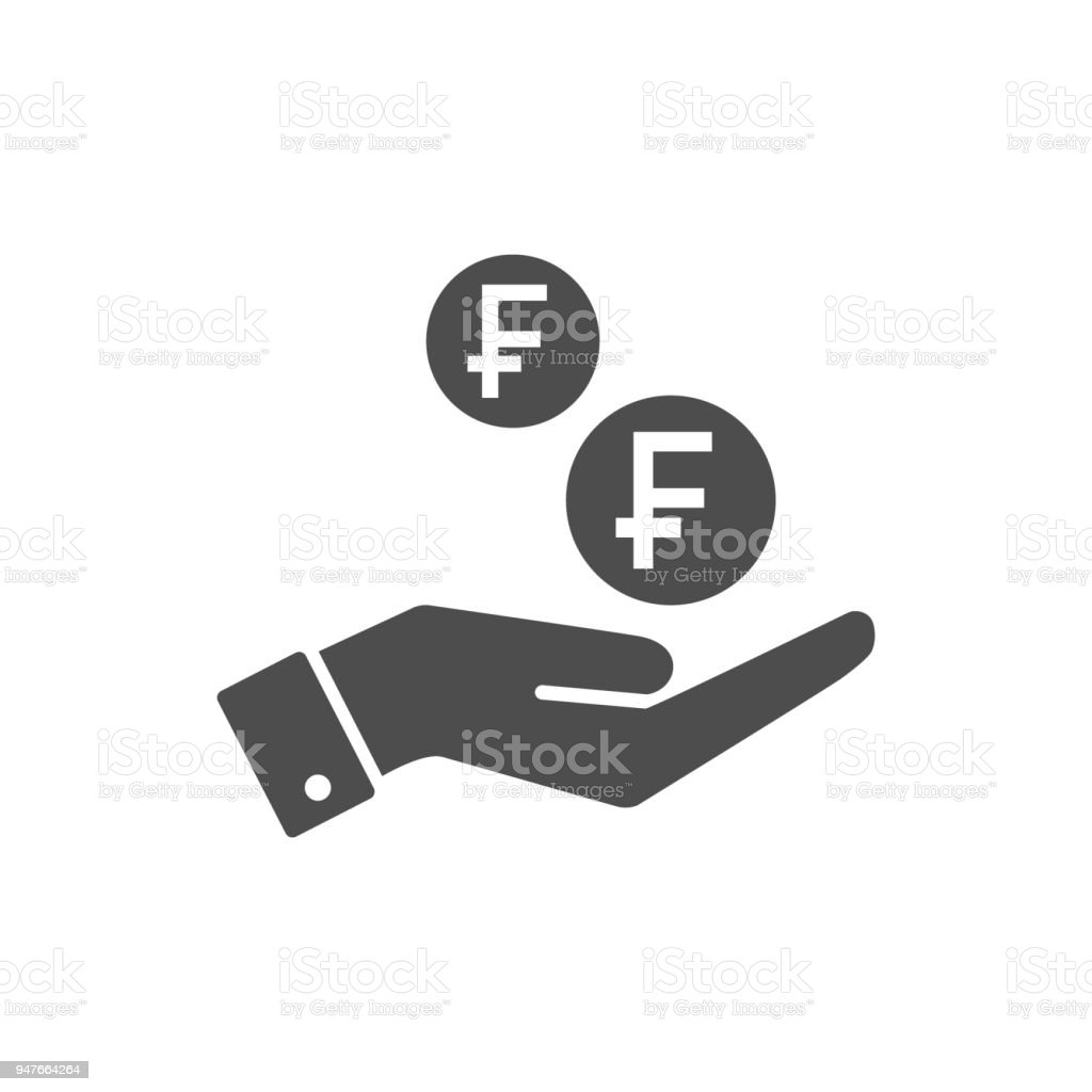 Hand and swiss franc coins dropping flat icon. Swiss francs coin and palm pictograph icon symbol. vector art illustration