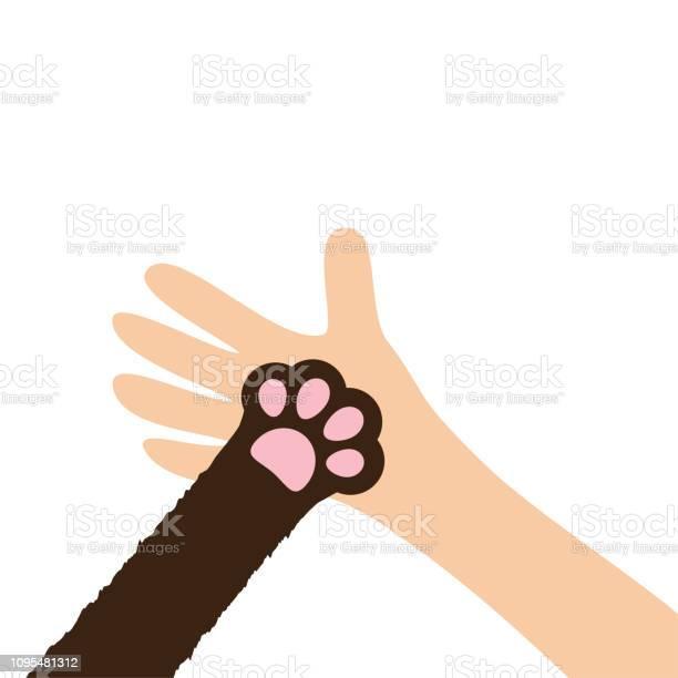Hand arm holding cat dog paw print leg foot help adopt animal pet vector id1095481312?b=1&k=6&m=1095481312&s=612x612&h=oph0invstksrgbcf92bpyj1idl6ofogdmgjpdkoda2o=