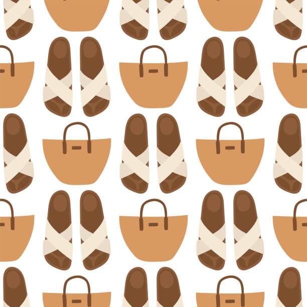 Hand Tasche weibliche Mode Musterdesign Hintergrund Luxus Stil Eleganz Geldbörse Zubehör Vektor-illustration – Vektorgrafik