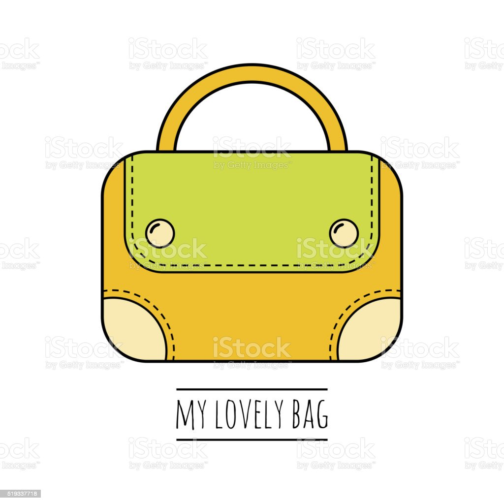 Hand bag isolated. Color flat icon, object. Fashion accessory vector art illustration