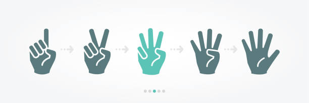 hand banner hand banner vector icon counting stock illustrations