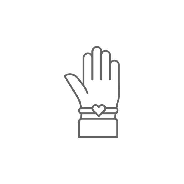 hand beste freunde armband-umriss-ikone. elemente der freundschaftslinie ikone. schilder, symbole und vektoren können für web, logo, mobile app, ui, ux verwendet werden - paararmbänder stock-grafiken, -clipart, -cartoons und -symbole