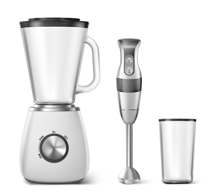 Hand blender, food processor and clear glass