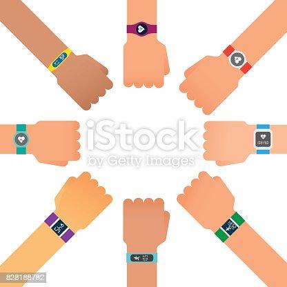 istock Hand bracelet, fitness gadget. Fitness tracker for sports. 828188782