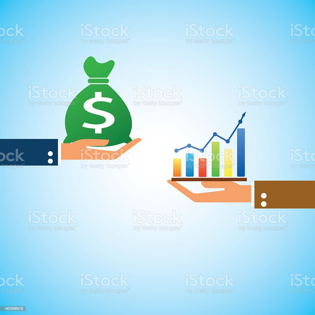 hand bring money graph up vector art illustration