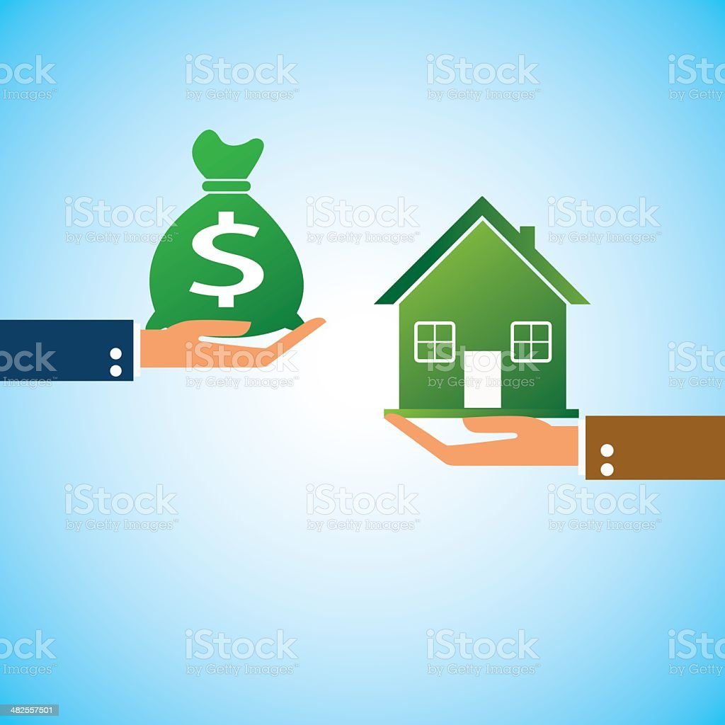 hand bring money home vector art illustration