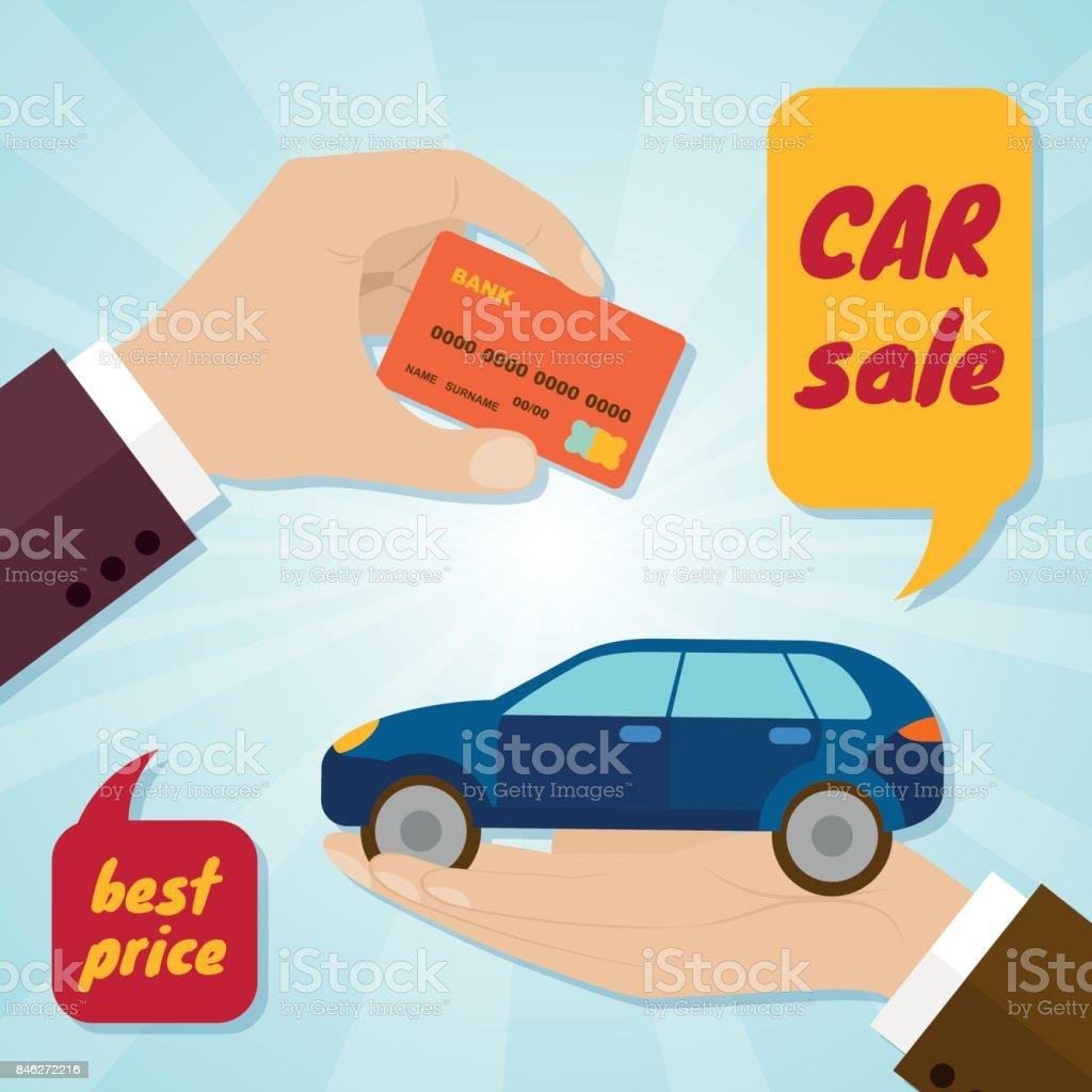 손은 신용 카드와 자동차 구입입니다 임대 또는 판매 개념 개념에 대한 스톡 벡터 아트 및 기타 이미지