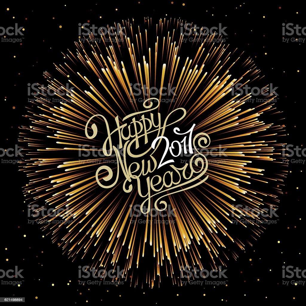 Hand calligraphic inscription on the New Year on a dark background. hand calligraphic inscription on the new year on a dark background - immagini vettoriali stock e altre immagini di 2017 royalty-free