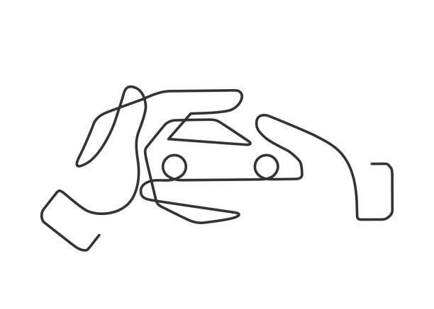 hand car one line Continuous line drawing of small car between two  human hands meaning care and love. Vector illustration car love stock illustrations