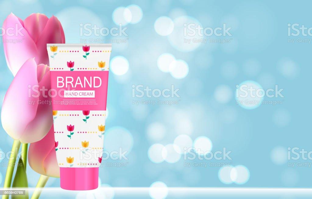 Hand Care Cream Bottle, Tube Template for Ads or Magazine Backgr hand care cream bottle tube template for ads or magazine backgr - immagini vettoriali stock e altre immagini di accudire royalty-free