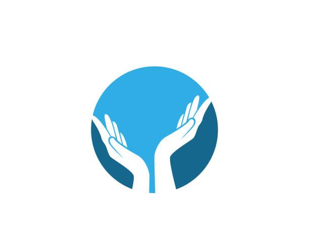hand care logo and symbols template icons - dłoń stock illustrations