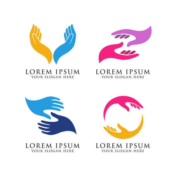 hand care logo design template. hand care vector icon illustration hand care logo design template. hand care vector icon illustration hand stock illustrations