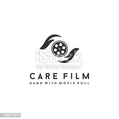 istock hand care with film reel for movie / cinema logo design 1289276574