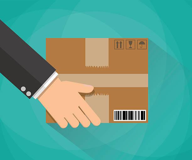 illustrazioni stock, clip art, cartoni animati e icone di tendenza di mano che porta una scatola di cartone - portare