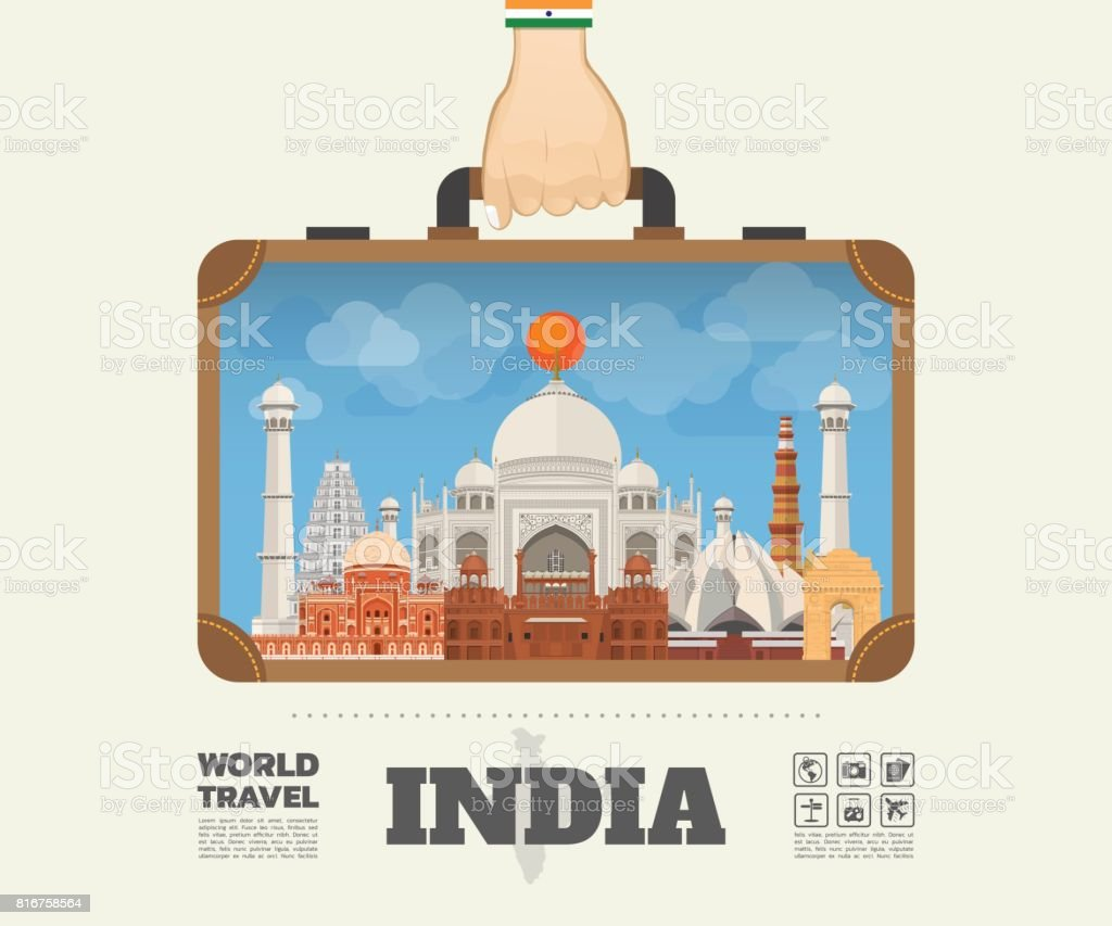 Hand carrying India Landmark Global Travel And Journey Infographic Bag. Vector Flat Design Template.vector/illustration.Can be used for your banner, business, education, website or any artwork vector art illustration
