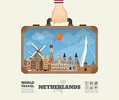 Hand carrying Netherland Landmark Global Travel And Journey Infographic Bag. Vector Design Template.vector/illustration.