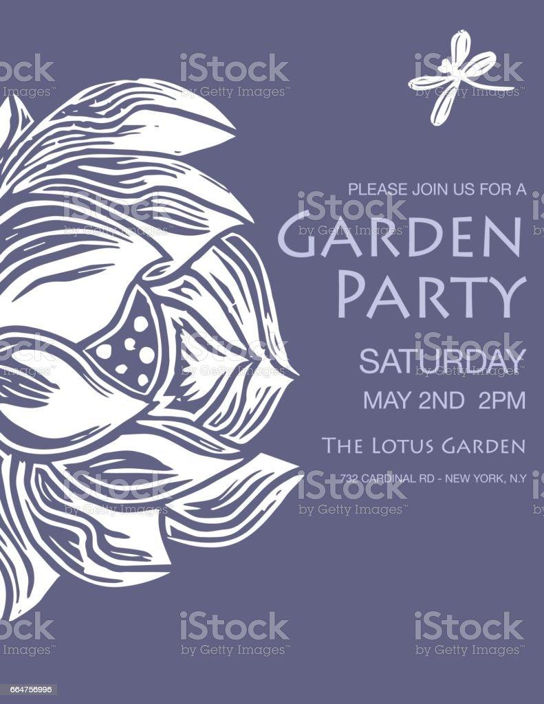Hand Carved Linocut Block Print - Lotus Design vector art illustration