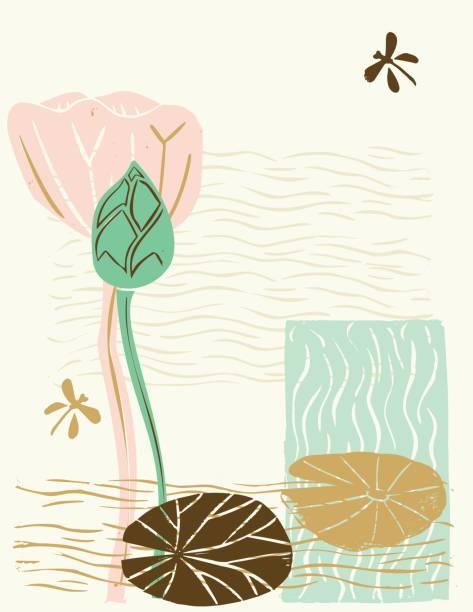 hand geschnitzt linolschnitt block druck - lotus design - seerosenteich stock-grafiken, -clipart, -cartoons und -symbole