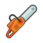 Hand Chainsaw Icon on White Background. Vector