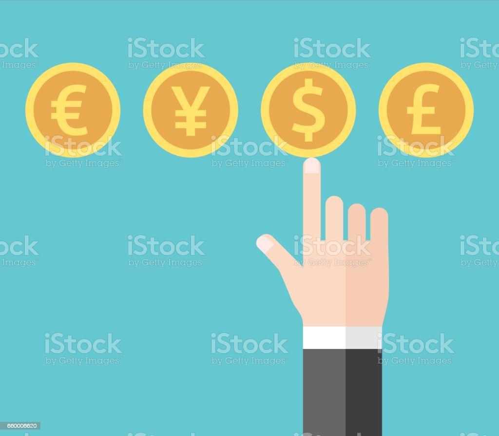 Hand choosing dollar currency vector art illustration